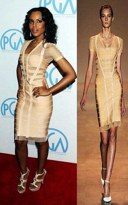 Kerry Washington Nude Dress Herve Leger Pink V Neck Dress