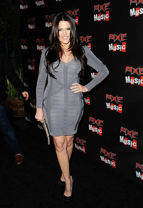 Khloe Kardashian Dress Herve Leger Grey Long V Neck Bandage Dress
