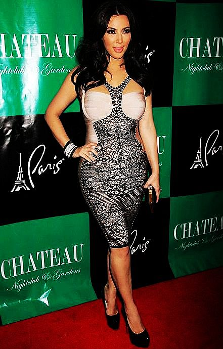 Kim Kardashian Herve Leger Black V Neck Lace Bandage Dress