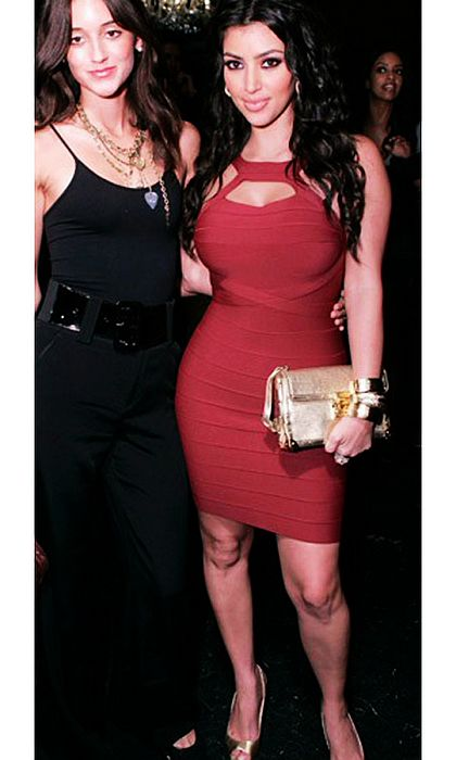 Kim Kardashian Herve Leger Red Cutout Dress