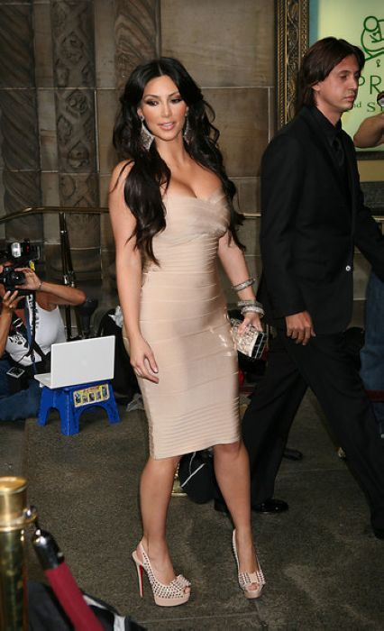 Kim Kardashian Nude Dress Herve Leger Strapless Dress