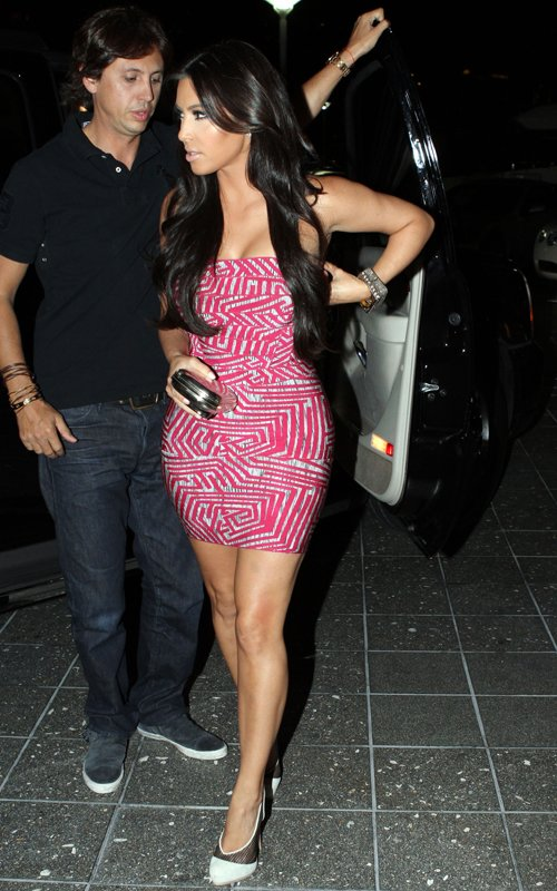 Kim Kardashian Red Dress Herve Leger Red Printed Strapless Bandage Dress