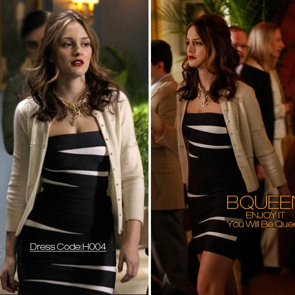 Leighton Meester Dress Herve Leger Black And White Strapless Dress