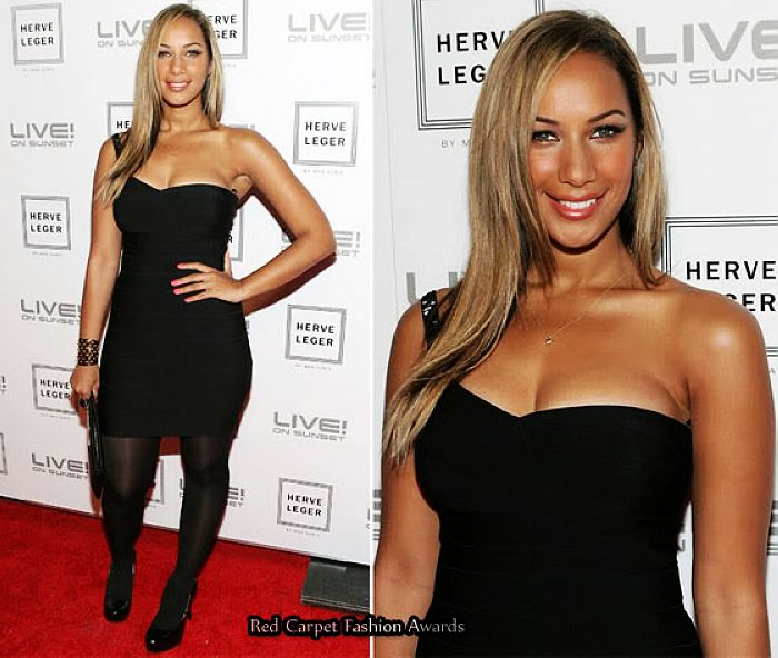 Leona Lewis Dress Herve Leger Black One Shoulder Bandage Dress