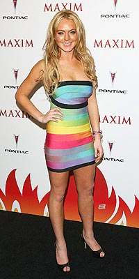 Lindsay Lohan Dress Herve Leger Rainbow Bandage Dress