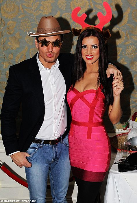 Lucy Mecklenburgh Dress Herve Leger Pink And Red Striped Dress
