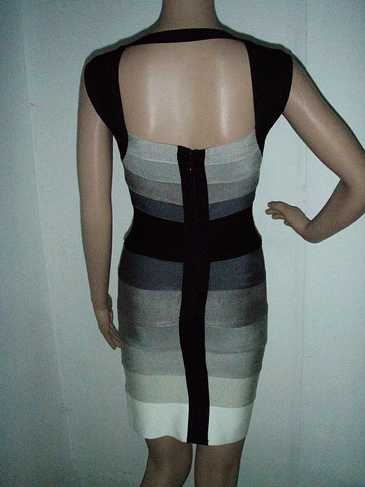 Lucy Mecklenburgh Dress Herve Leger V Neck Colorblock Bandage Dr