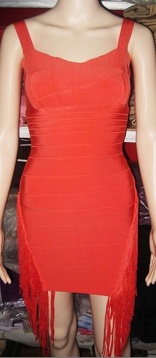 Maria Fowler Dress Herve Leger Orange Strapless Bandage Dress