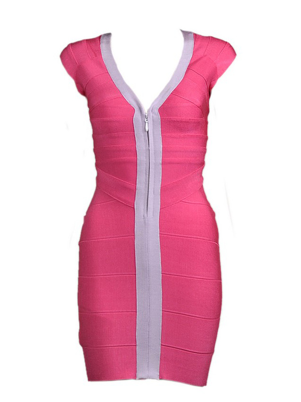 Miranda Kerr Dress Herve Leger V Neck Pink Bandage Dress