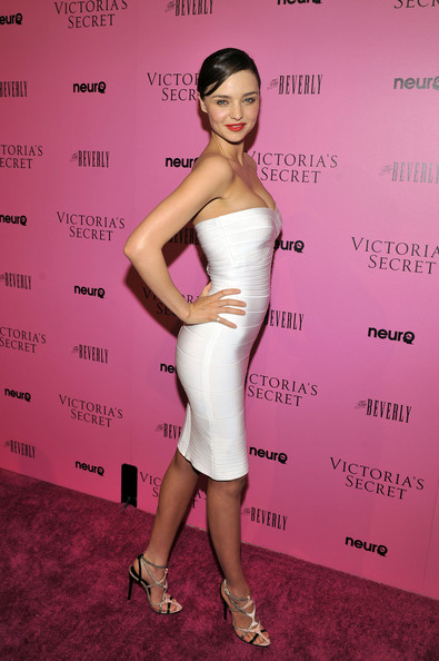 Miranda Kerr Dress Herve Leger White Strapless Bandage Dress