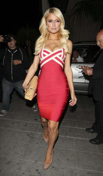 Paris Hilton Dress Herve Leger Red And White Bandage Dress