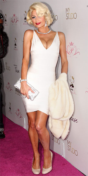 Paris Hilton Dress Herve Leger White V Neck Bandage Dress