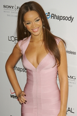 Rihanna Dress Herve Leger Hot Sexy Pink V Neck Bandage Dress