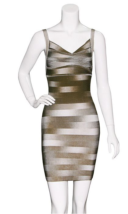Sophia Bush Dress Herve Leger Grey And Brown V Neck Dress