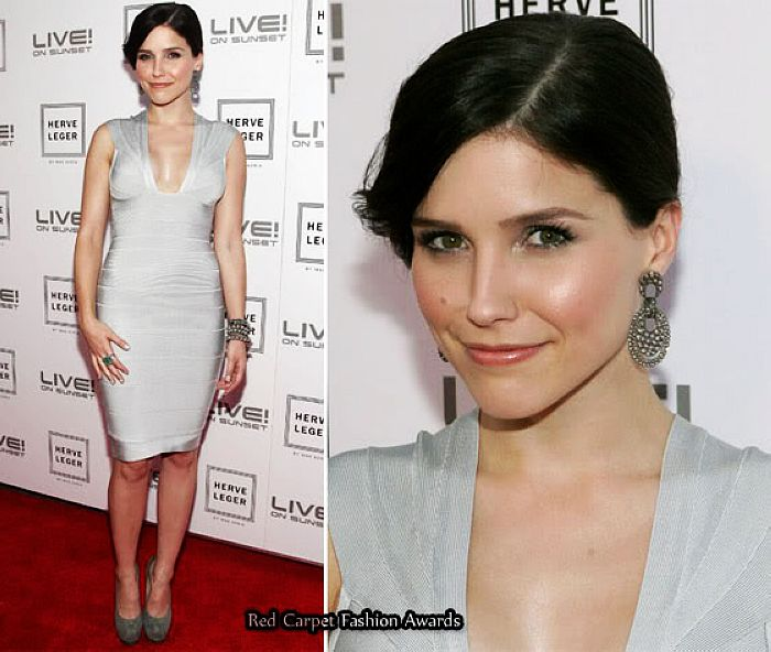 Sophia Bush Dress Herve Leger Grey Bandage Dress