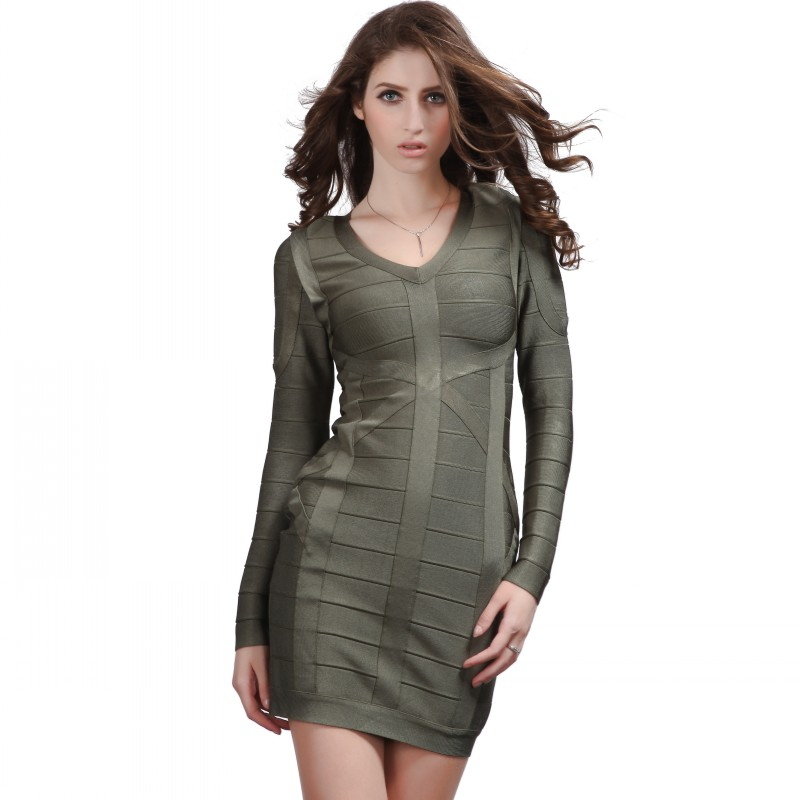 Stacy Keibler Dress Herve Leger Green Long Sleeves Dress