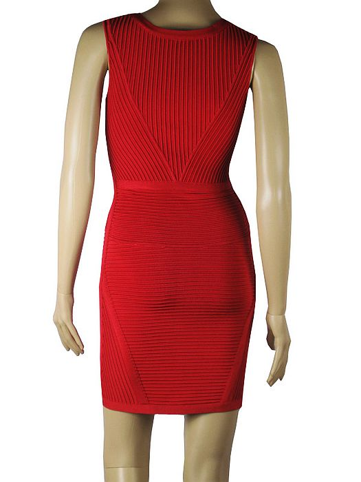 Tamara Dress Herve Leger Red V Neck Dress