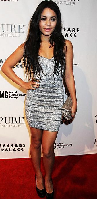 Vanessa Hudgens Dress Herve Leger Silver Strapless Bandage Dress