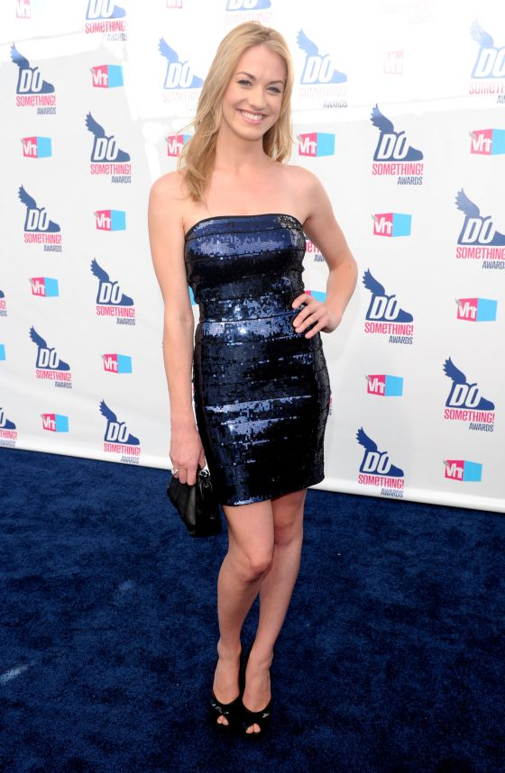 Yvonne Strahovski Dress Herve Leger Blue Sequin Strapless Bandage Dress