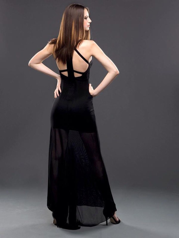 Herve Leger Black New Deep V Neck Backless Gown