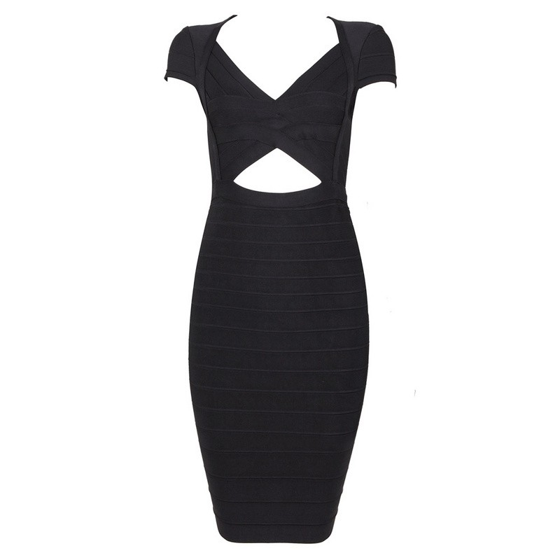 Herve Leger Black V Neck Cutout Dress