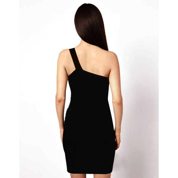 Herve Leger Black Beaded One Shoulder Dress