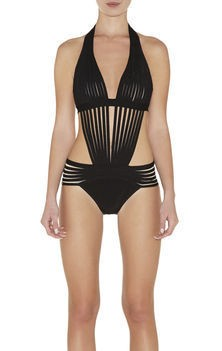 HERVE LEGER BLACK Deep V neck FRINGE SWIMSUIT