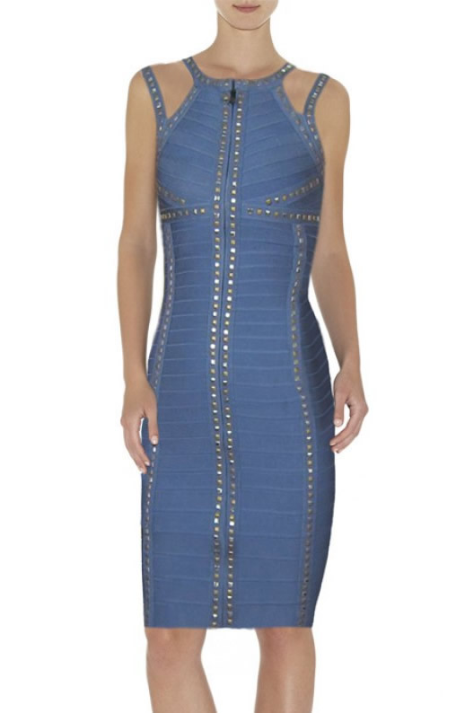 Herve Leger Blue Beading Bandage Dress