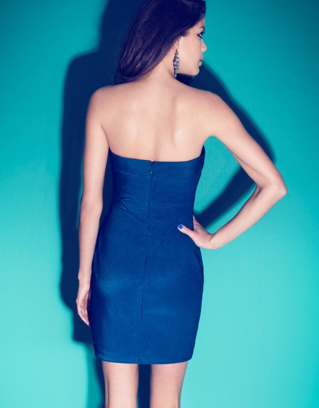Herve Leger Black And Blue Strapless Art Printing Bandage Dress