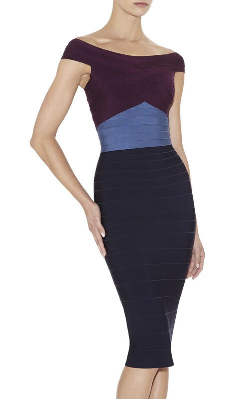 Herve Leger Black And Purple Color Block Bandage Dress