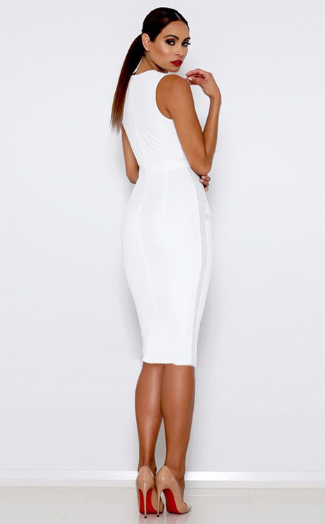 Herve Leger White And Black Multitexture Mesh Dress
