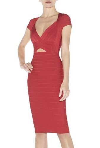 Herve Leger Red V Neck Signature Dress