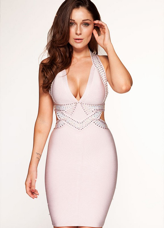 Herve Leger White Veck Beading Dress