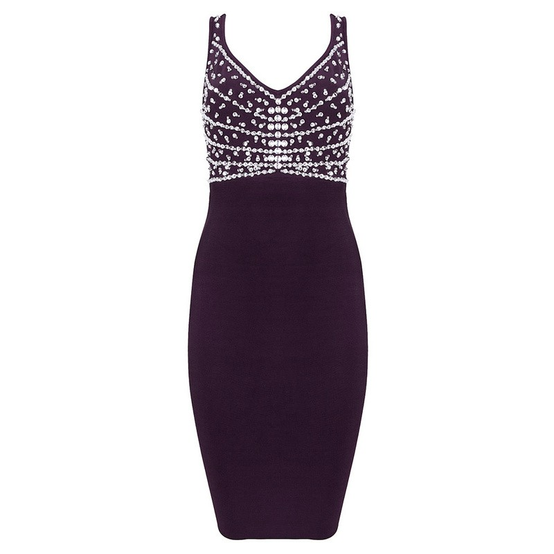 Herve Leger Purple V Neck Beaded Dress