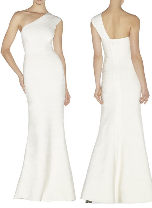 Herve Leger White One Shoulder Bandage Gown