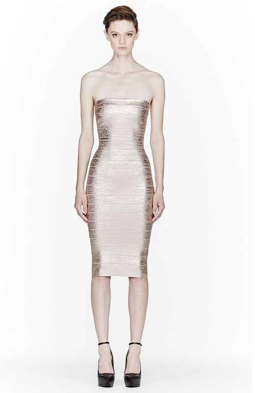 Herve Leger Golden New Fashion Style Strapless Dress