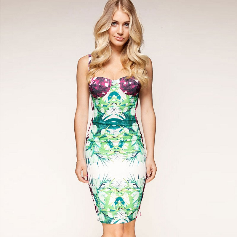 Herve Leger Art Printing Halter Bandage Dress