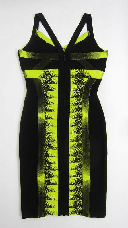 Herve Leger Green New Style Patterned V Neck Dress