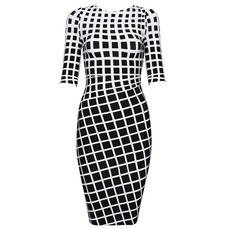 Herve Leger Balck And White Half Sleeve Dress