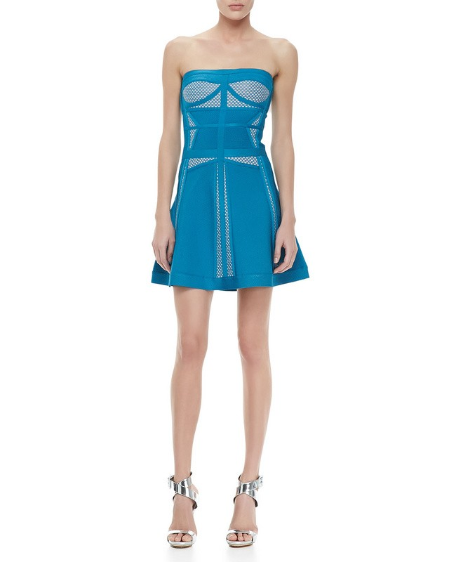 Herve Leger Blue Mesh Strapless Bandage Dress