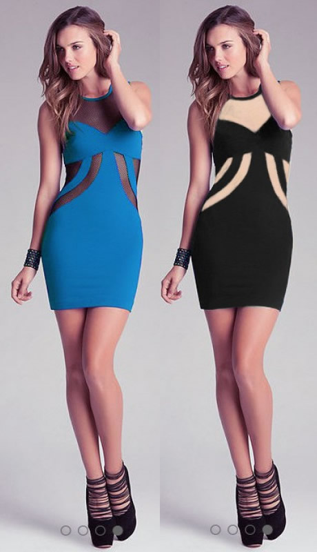 Herve Leger Blue And Black Lace Neckline Bandage Dress