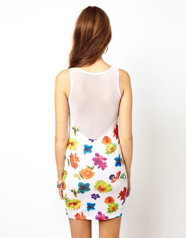 Herve Leger Whtie V Neck Lace Flowers Printing Dress