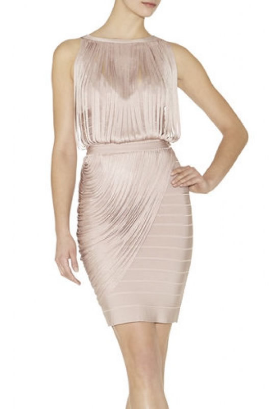 Herve Leger Black And Nude Halter Draped Bandage Dress