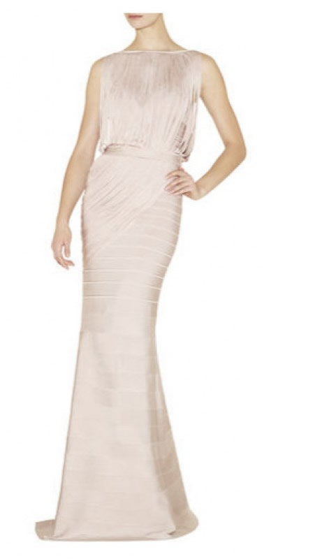 Herve Leger Nude Halter Draped Bandage Gown
