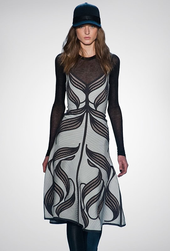 Herve Leger Black And White Art Printing Bandage Dress