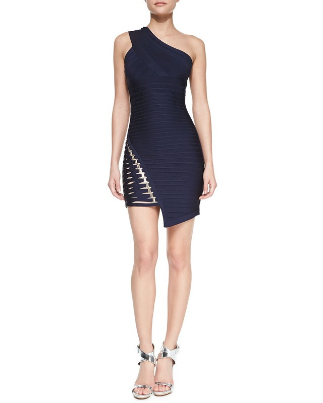 Herve Leger White And Blue One Shoulder Cutout Bandage Dress