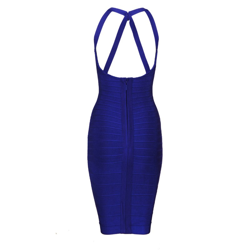 Herve Leger Blue Cross V Neck Sleeveless Bandage Dress