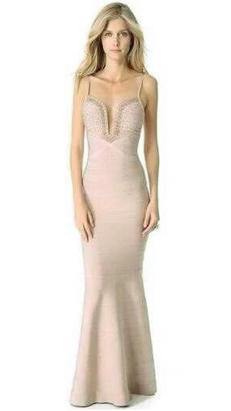 Herve Leger Nude Beaded V Neck Bandage Dress