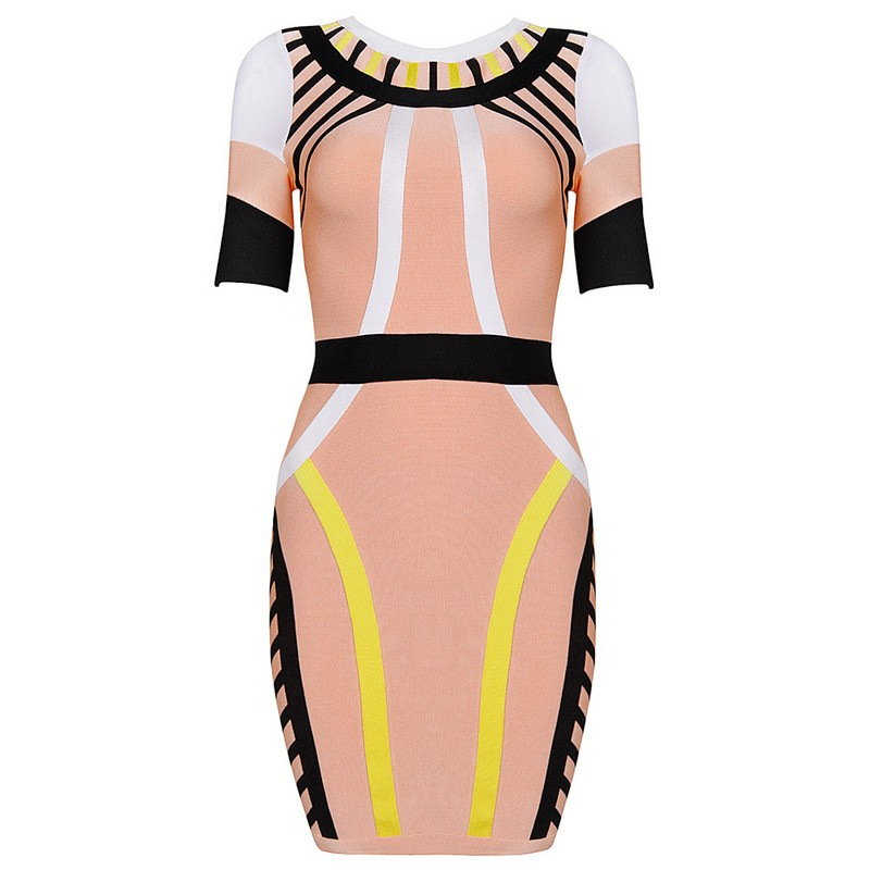 Herve Leger Pink Color Block Mid Sleeve Bandage Dress