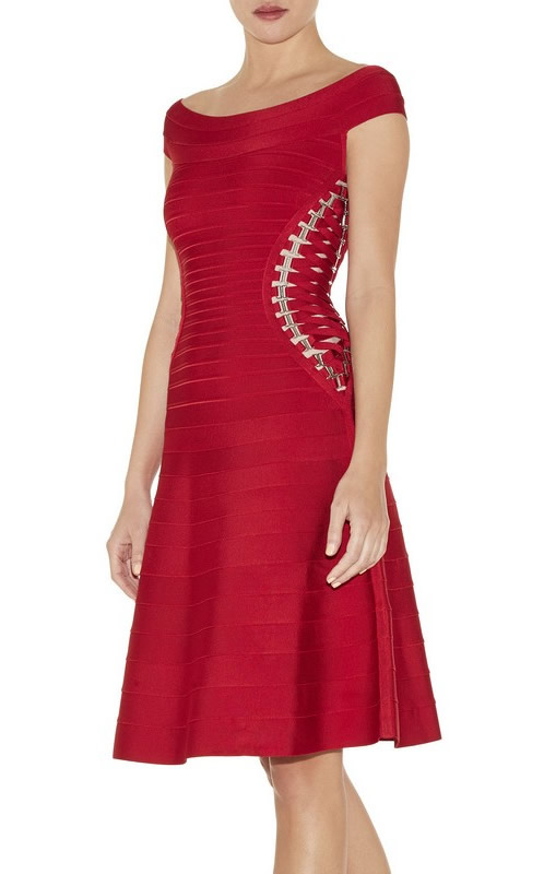 Herve Leger Red Off Shoulder A Line Bandage Dress
